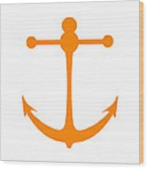 Anchor In Orange And White Wood Print