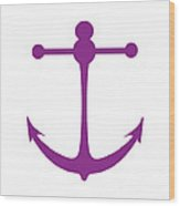 Anchor In Purple And White Wood Print