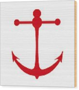 Anchor In Red And White Wood Print