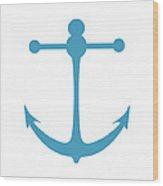 Anchor In Turquoise And White Wood Print