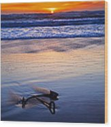 Anchor Ocean Beach Wood Print