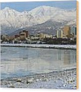 Anchorage Cityscape Wood Print