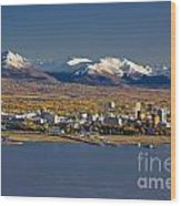 Anchorage Skyline And The Chugach Wood Print