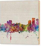 Anchorage Skyline Wood Print by Michael Tompsett