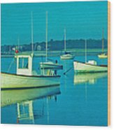 Anchored In Maine Wood Print
