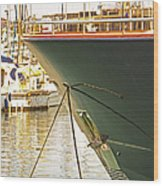 Anchored Yacht In Antibes Harbor Wood Print