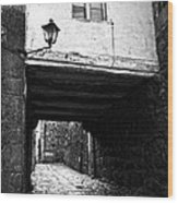 Ancient Alley In Tui Bw Wood Print