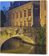 Ancient Bridge In Bruges  Wood Print
