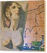 Ancient Cyprus Map And Aphrodite Wood Print