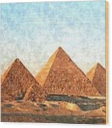 Ancient Egypt The Pyramids At Giza Wood Print by Gianfranco Weiss