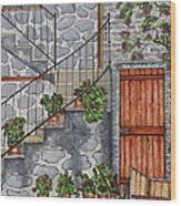 Ancient Grey Stone Residence Wood Print