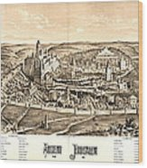 Ancient Jerusalem Map 65ad Wood Print