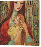 Ancient Mother And Son Wood Print
