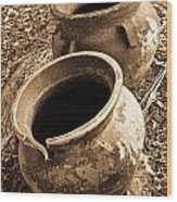 Ancient Pottery In Sepia Wood Print