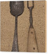 Ancient Spoon And Fork  Wood Print