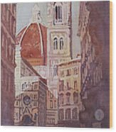 And Suddenly The Duomo Wood Print