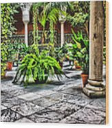 Andalusian Courtyard In Sevilla Spain Wood Print