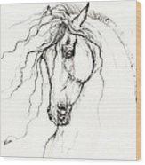 Andalusian Horse Drawing 04 11 2013 Wood Print