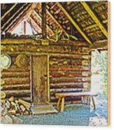 Andrew Berg's Homestead Cabin At Kenai National Wildlife Refuge In Soldotna-alaska Wood Print