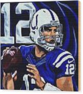 Andrew Luck Wood Print by Chris Eckley