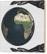 Android Hands Keep Earth Globe Safe On White Background Wood Print