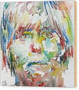 Andy Warhol Watercolor Portrait Wood Print