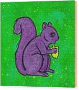 Andy's Squirrel Purple Wood Print