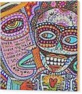 Angel And Frida Sugar Skull Lovers' Wood Print