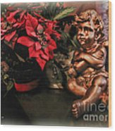 Angel And Poinsettia Wood Print