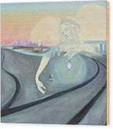 Angel Bringing Light To Meditating Woman At The Train Tracks Wood Print