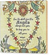 Angel Fraktur Painting Wood Print