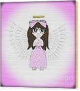 Angel In Pink Wood Print