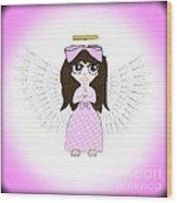 Angel In Pink Wood Print by Eva Thomas