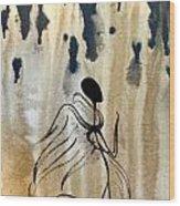 Angel In The Rain Wood Print