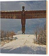 Angel In The Snow II Wood Print