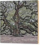 Angel Oak Digital Art Wood Print