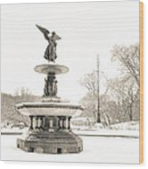 Angel Of The Waters - Central Park - Winter Wood Print