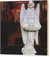 Angel Statue Offers Holy Water Wood Print