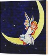Angel On The Moon Wood Print