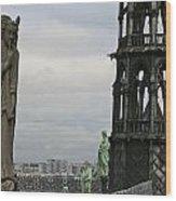Angel Over Paris Wood Print
