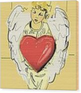 Angel Red Heart Wood Print