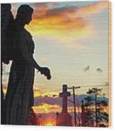 Angel Silhouette In Burst Of Colors Wood Print