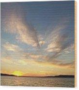 Angel Wing Sunset Wood Print