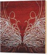 Angel Wings Crimson Wood Print