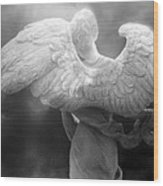 Angel Wings - Dreamy Surreal Angel Wings Black And White Fine Art Photography Wood Print