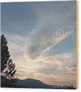 Angel Wings In Sky Clouds Wood Print