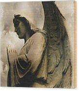 Angel Wings Praying - Spiritual Angel In Clouds Wood Print