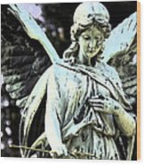 Angel With A Red Rose Wood Print