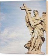 Angel With The Cross In Ponte St Angelo  Wood Print