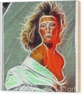 Angela Leather Red Fractal Wood Print